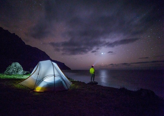 stars-in-night-sky-admired-by-tourist-on-rock